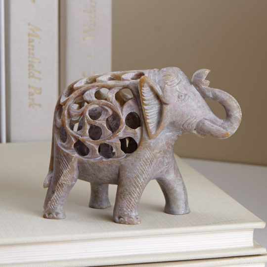 double carved elephant