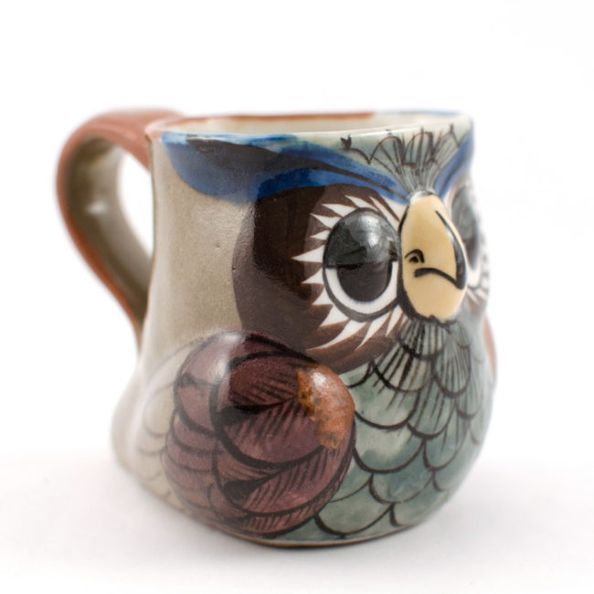 ceramic owl mug side