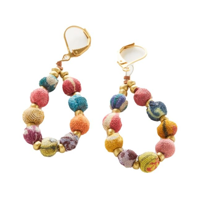 kantha teardrop bead earrings