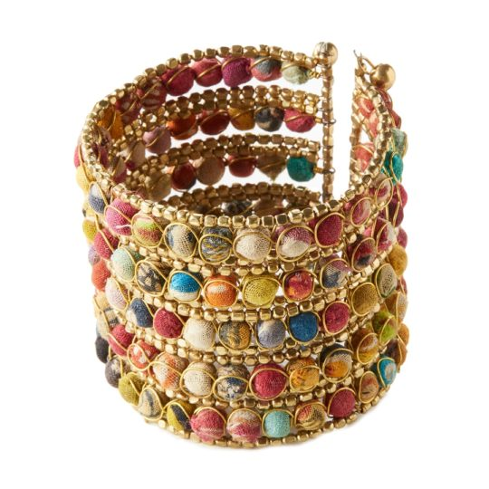 kantha grid cuff bracelet