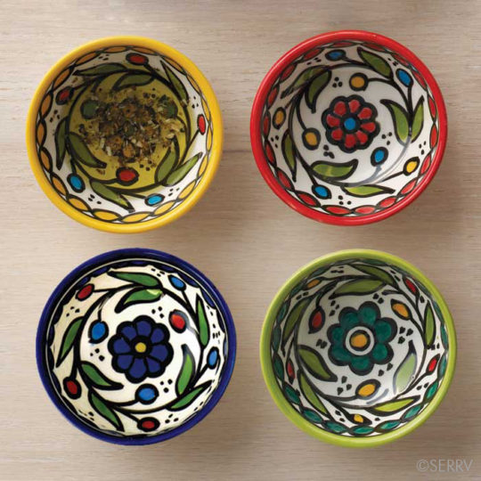 hand painted ceramic dipping bowls