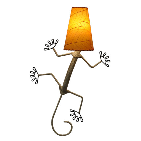 orange gecko cocoa leaf lamp