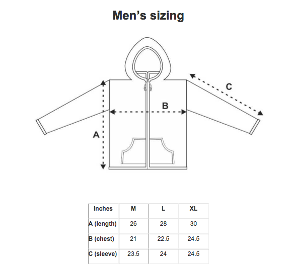 men's sweater size chart