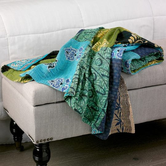 blue green kantha throw