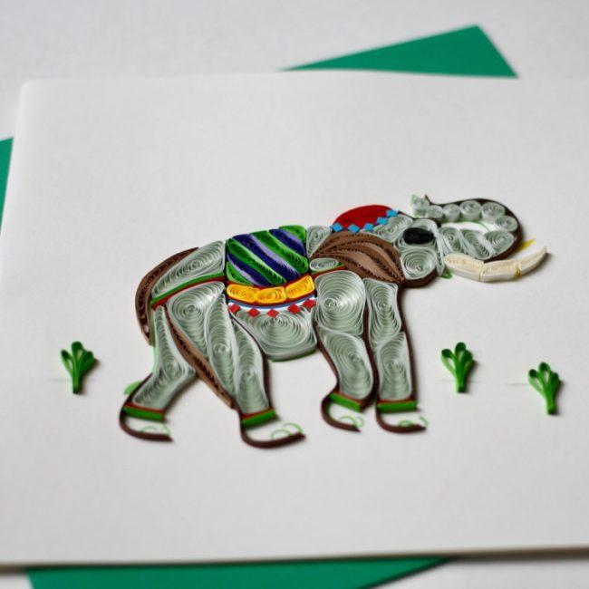 elephant quilling card closeup