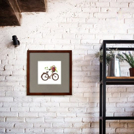bike flowers quilling card framed