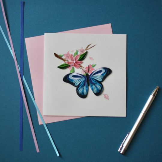 blue butterfly quilling card styled