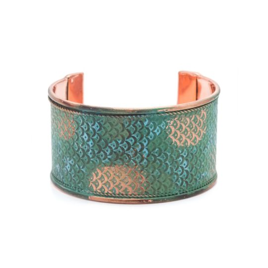 art deco scallop cuff patina