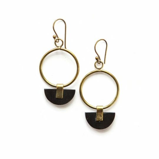 Art deco half moon earrings
