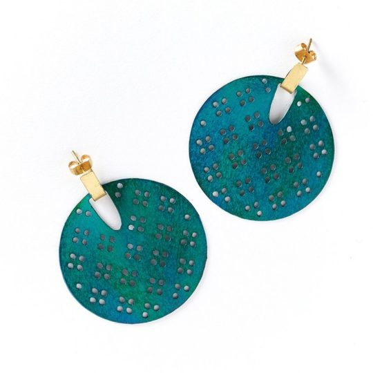 Chameli earrings teal blossom