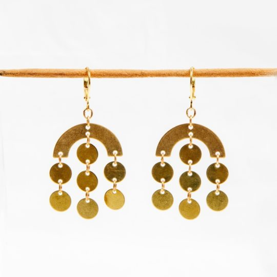 Circle rain earrings brass