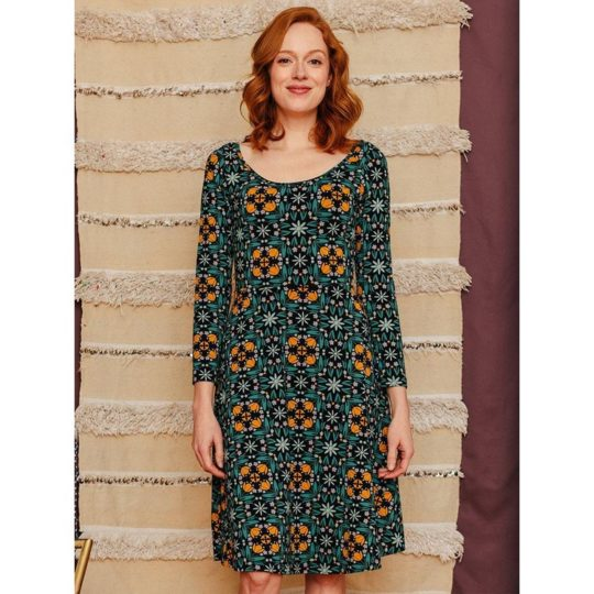 Delilah Long Sleeved Dress Teal Tile