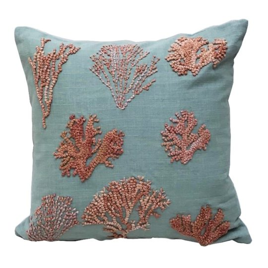Embroidered coral reef pillow aqua