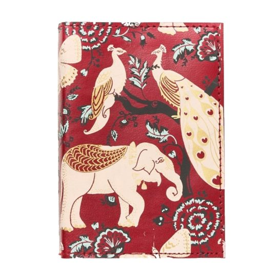 Fauna leather journal red garden