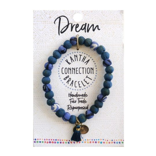 Kantha connection bracelet denim card