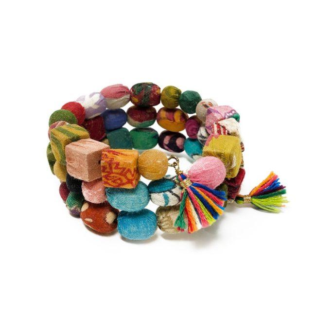 Kantha spiral shapes bracelet