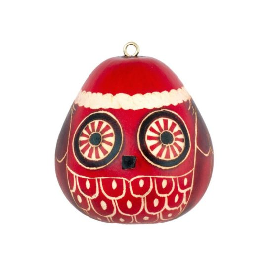 Mini Christmas Owl Gourd Ornament