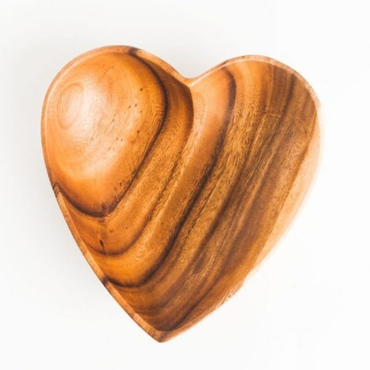 "acacia wood heart bowl 10"" 1"