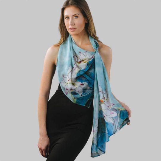 akira chiffon scarf lotus