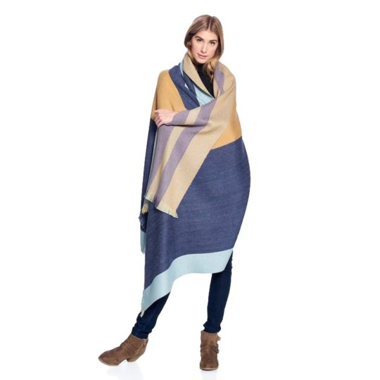 alpaca reversible throw indigo gold 1