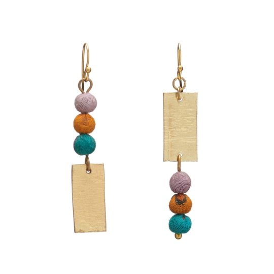 asymmetric kantha earrings