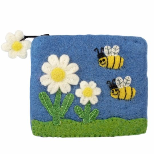 bumblebees felt coin purse