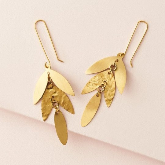 chameli earrings leaf drop