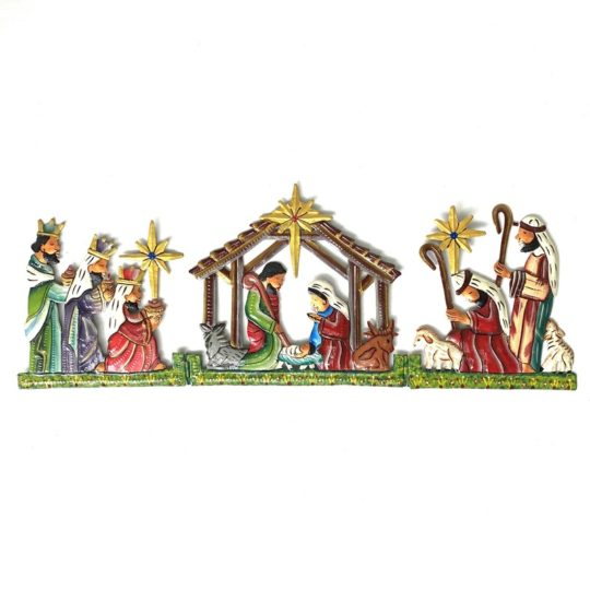 colorful hinged trifold nativity oil drum