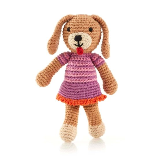 crocheted dog girl rattle