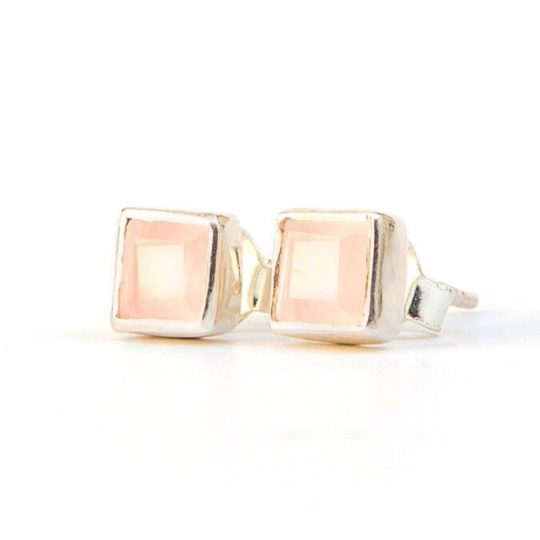 crystal waters studs rose quartz