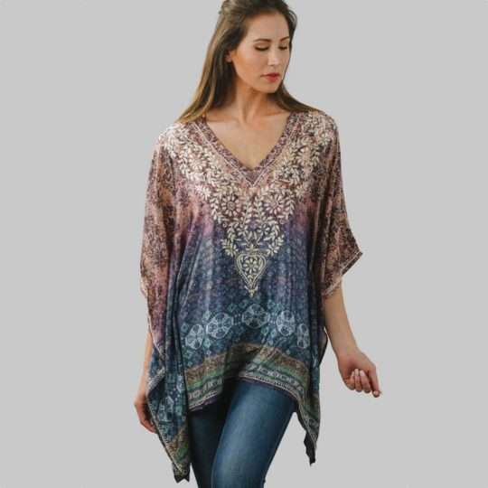 demira embroidered tunic purple