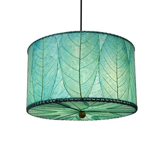 drum pendant leaf lamp blue 18inch