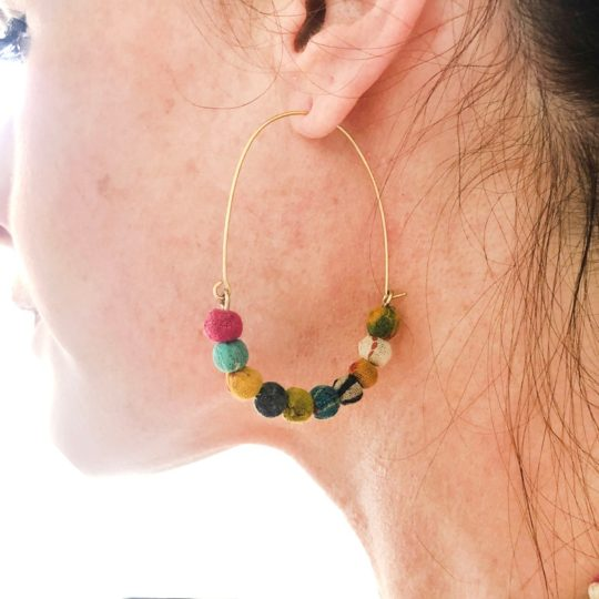 elongated wire kantha earrings model