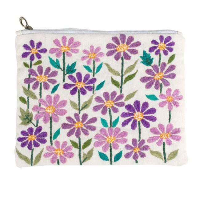 embroidered blossoms pouch
