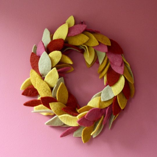fall leaves felt wreath