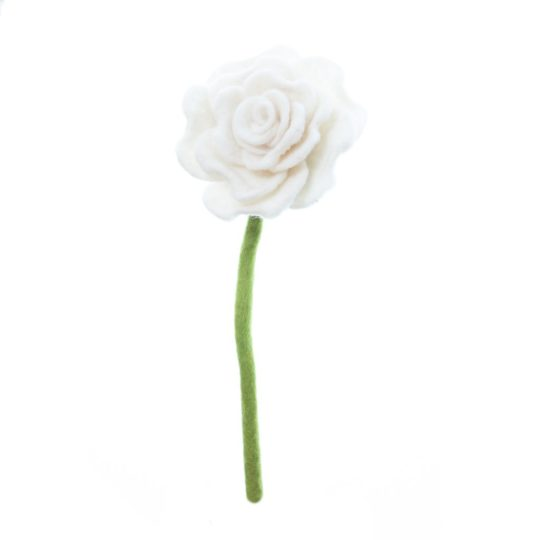 felt blooming rose white