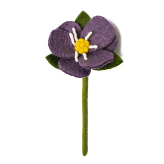 felt hepatica flower purple