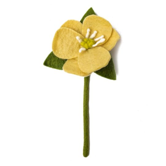 felt hepatica flower yellow