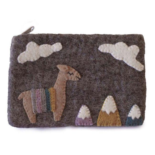 felt llamas pouch