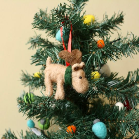 felt moose ornament styled