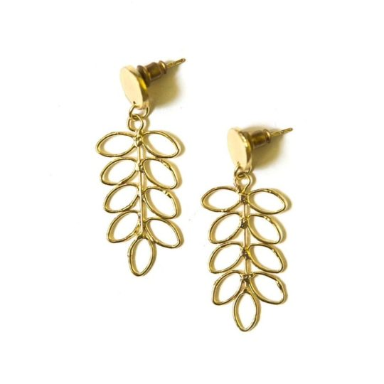 fern stud earrings brass