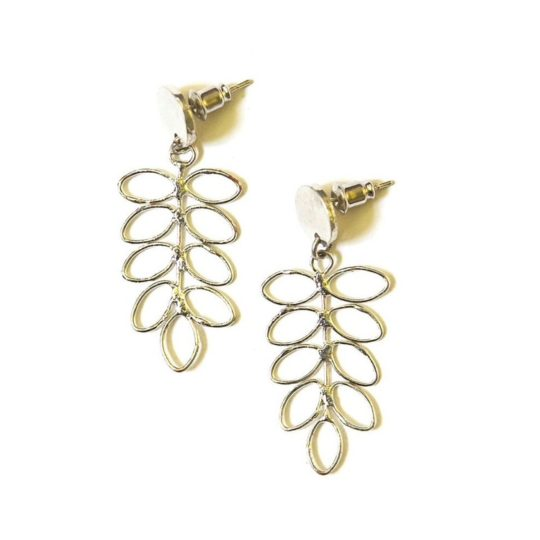 fern stud earrings silver
