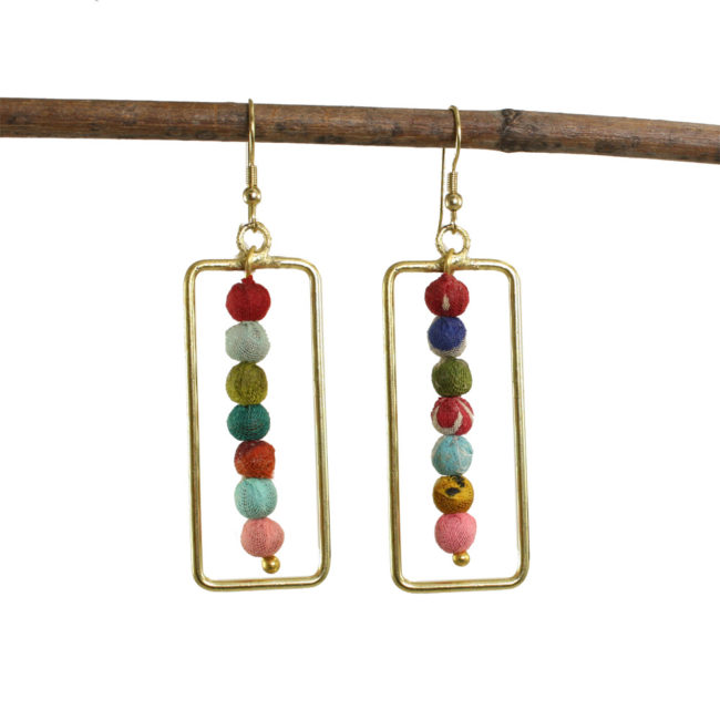 framed kantha earrings