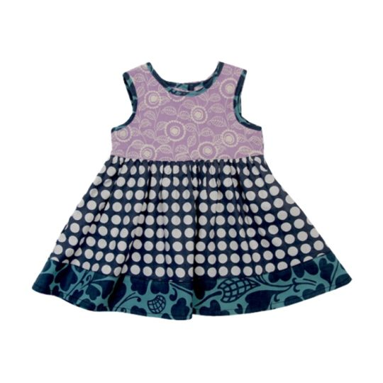 baby sundress indigo dots