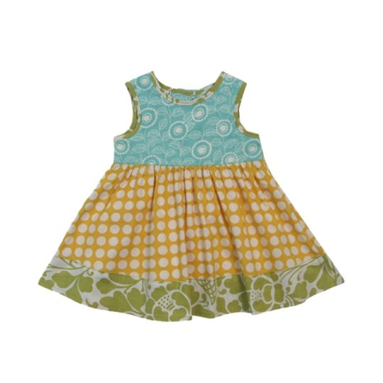 baby sundress yellow dots
