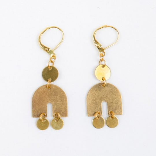graphic dangle earrings brass