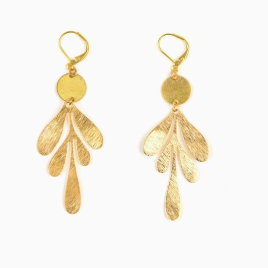 graphic leaf earrings