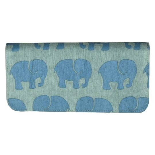grey blue elephant long wallet