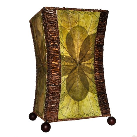 hourglass leaf table lamp green