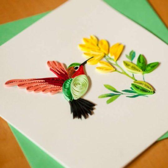 hummingbird quilling card 2
